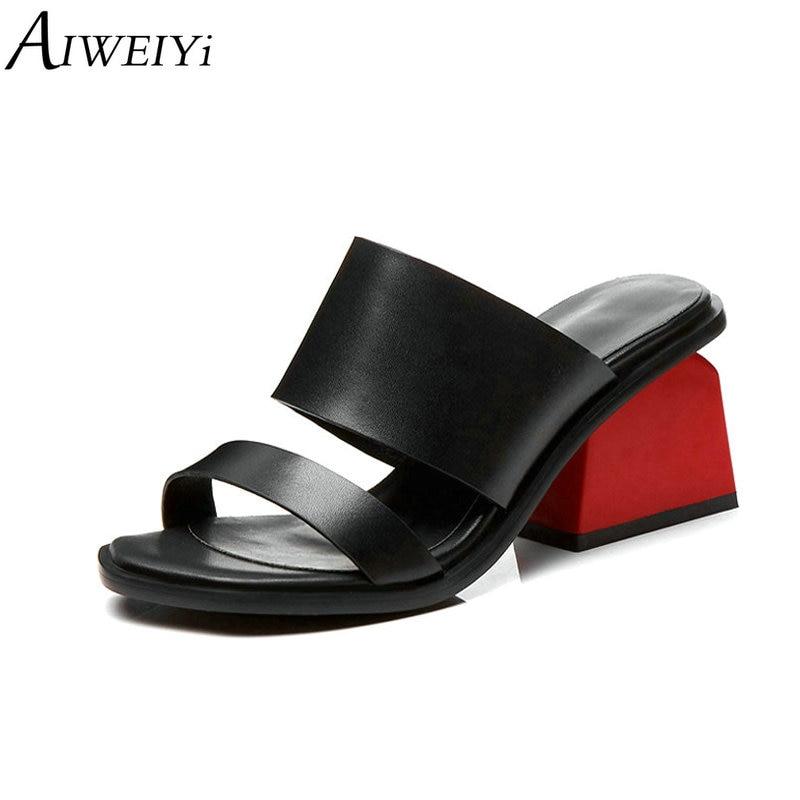 AIWEIYi Women Slippers Flip Flops Open Toe Sandals Spike Heels Slippers Sandals Platform Genuine Leather Summer Slippers Women-in High Heels from Shoes    1
