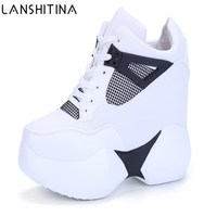 2019 Women's High Platform Shoes Breathable PU Shoes Women Height Increasi Shoes 12CM Wedges Thick Sole Trainers Ladies Sneakers