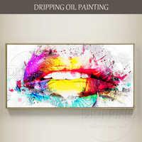 Hohe Qualifikationen Künstler handgemalte Hohe Qualität Moderne Wandkunst Bunte Lippen Ölgemälde auf Leinwand Lebendige Lippenöl malerei