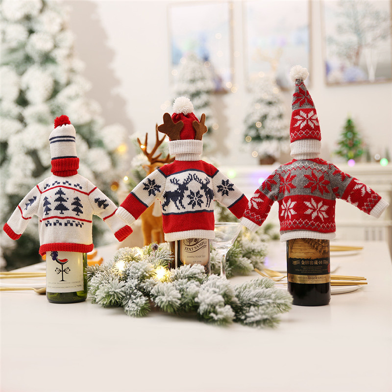 Noel Champagne Red Wine Bottle Bags Hat Cover Clothes Xmas Christmas Decorations for Home Cristmas Party Dinner Table Decoration