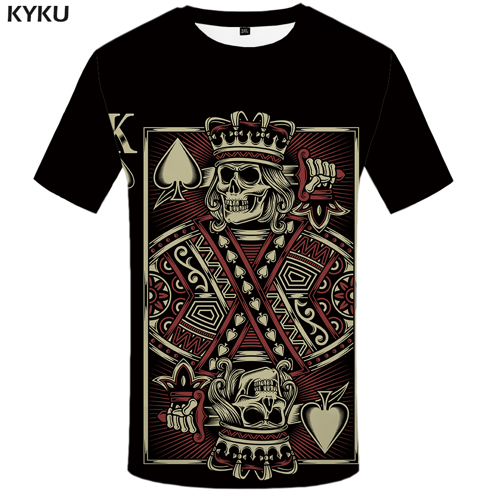 kyku brand skull clothes poker t shirts black t shirt 3d t shirt men t shirts funny mens clothes. Black Bedroom Furniture Sets. Home Design Ideas