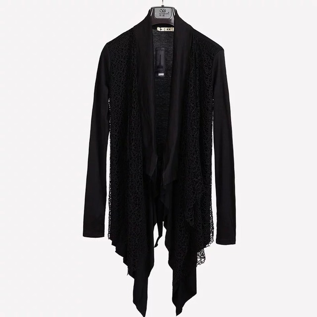 Plus Size New Trendy Mens Knitted Tops Avant-garde Unique Mesh Accent Arm Warmer Shawl Cardigan Long Sleeve Coat Size M-3XL 4