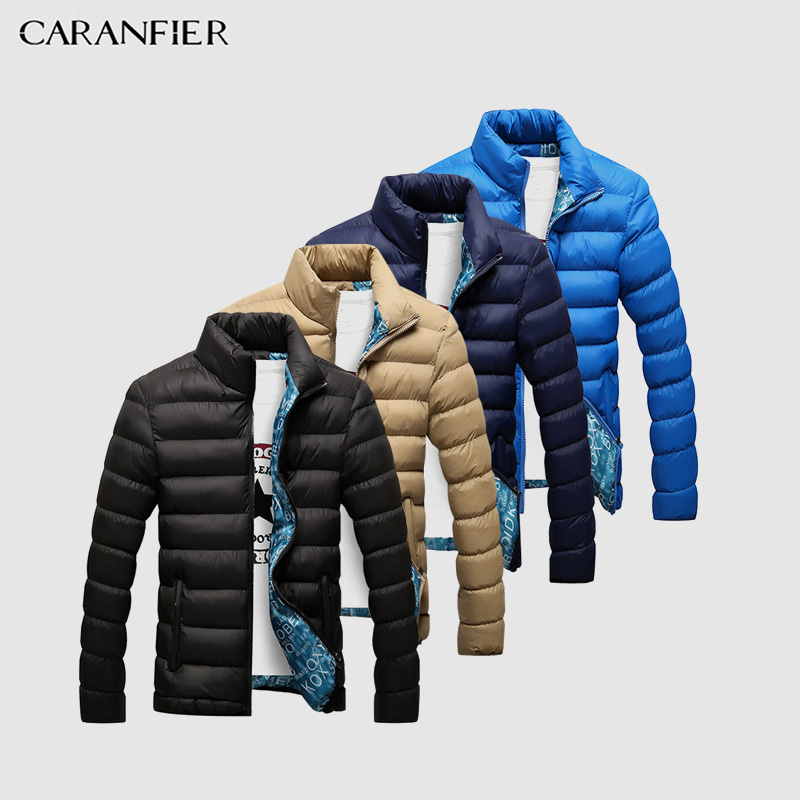 CARANFIER New Men   Parka   Winter Thick Collar Jacket Smart Casual Cotton Coat England Style Breathable Warm Male Jacket XS-4XL