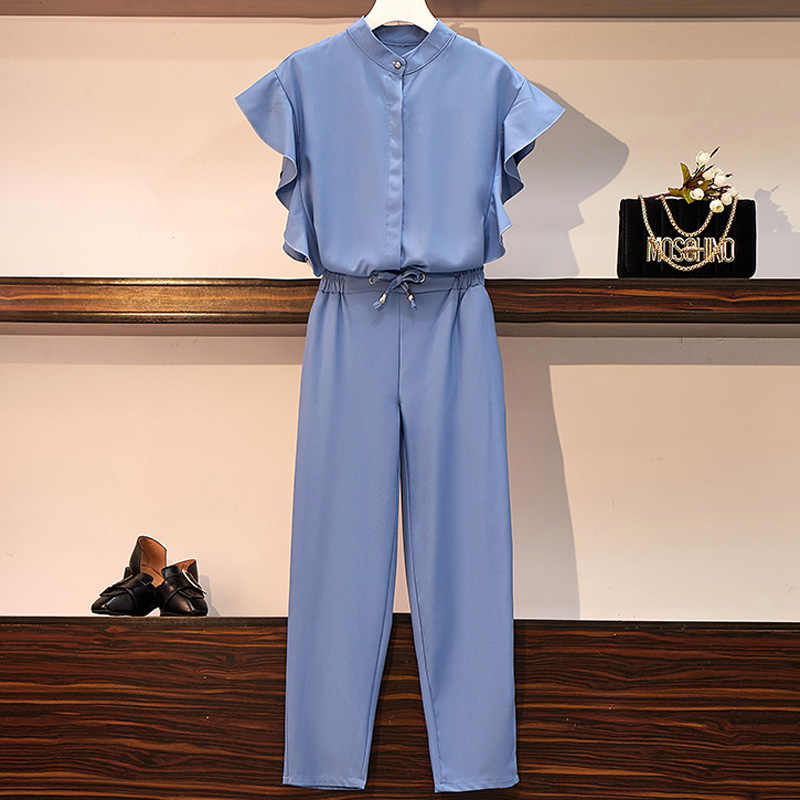 New 2019 Summer Fashion Women's Casual Elastic Waist Pants Suits Ruffles Slim Suits For Women Blue Black 2 Pieces Set Plus Size