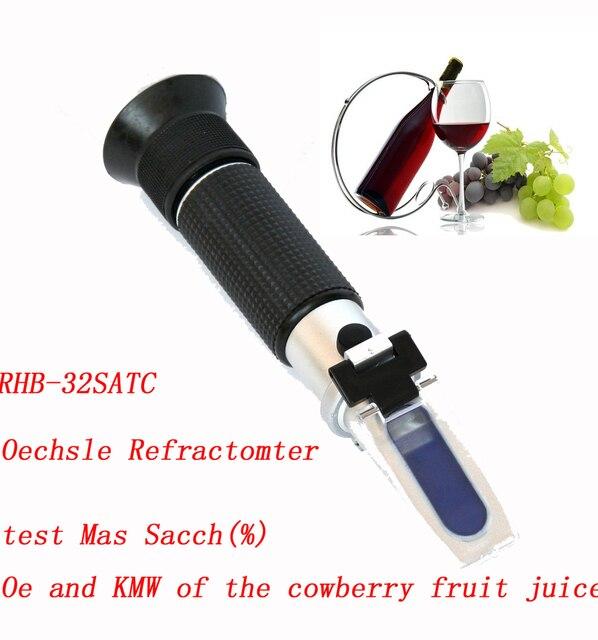 Free shipping  Hand-held 0-32% brix Wine Oechsle Refractometer RHB-32SATC (mash)