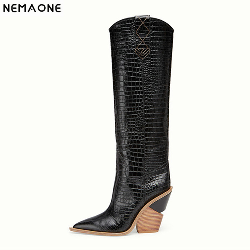 2020New النساء الأحذية وأشار اصبع القدم أسافين الأحذية الخريف الشتاء الأحذية قصيرة السيدات الغربية أنحاء الركبة الأحذية للنساء-في أحذية فوق الركبة من أحذية على  مجموعة 1