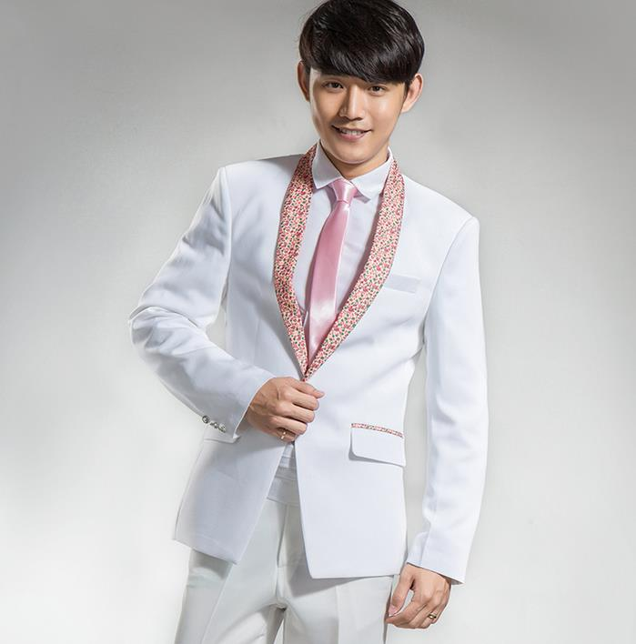 Cheap ! White shawl collar tuxedo suit mens suits studio theme costume master of ceremonies presided over men's Korean version
