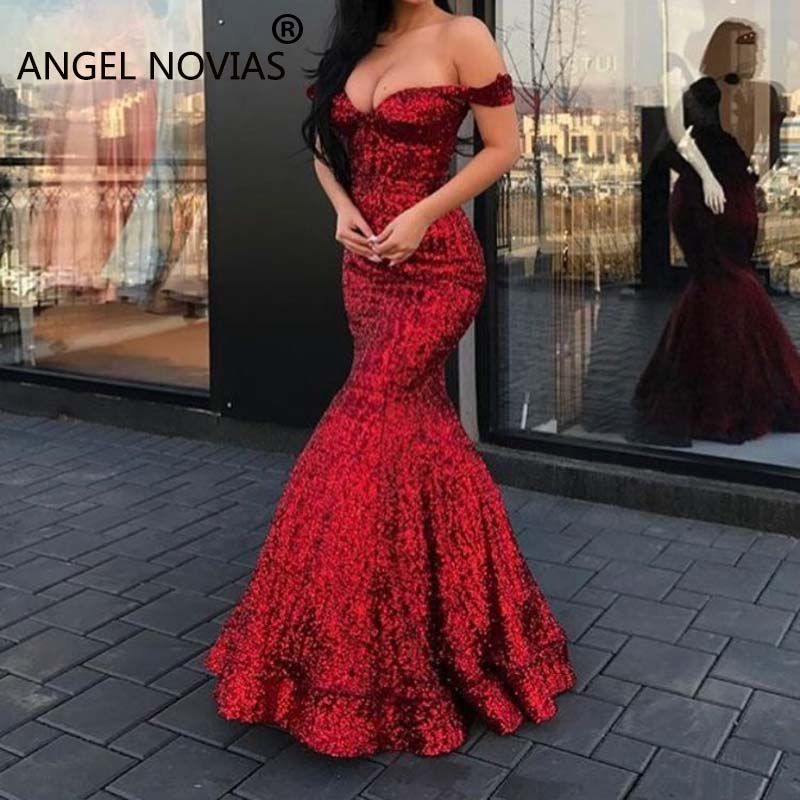 ANGEL NOVIAS Long Sexy Sequin Mermaid Red Burgundy Arabic Dubai Evening Dress 2020 Abendkleider Lang Luxus Robe Longue