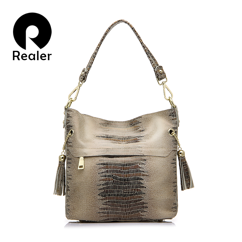 REALER handbag genuine leather crocodile messenger bags for women shoulder crossbody female totes ladies small bucket