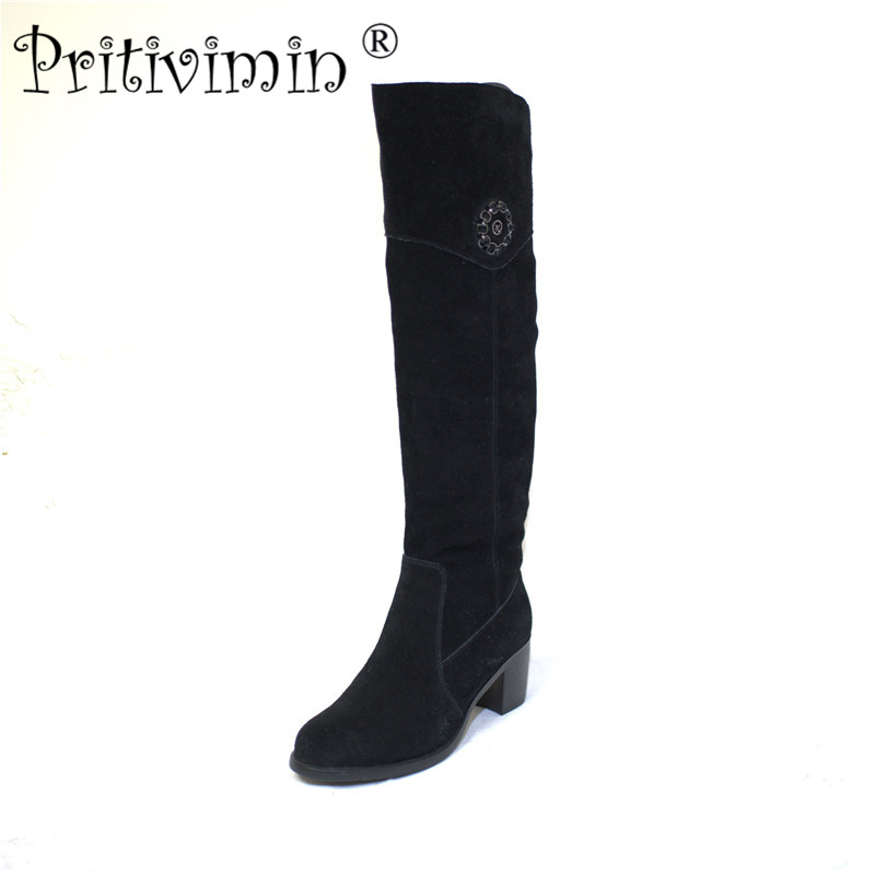 Pritivimin FN76 Ladies kide suede  bottes femmes winter women handmade shoes girls  warm real wool fur over the knee high boots pritivimin fn75b winter women warm real wool fur handmade shoes ladies genuine leather botte femme girl over the knee high boot