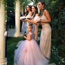 Princess Flower Girl Dresses Blush Pink Kids Evening Ball Gowns Vestido Nina Prom Party Beach Wedding Little Bride Dress