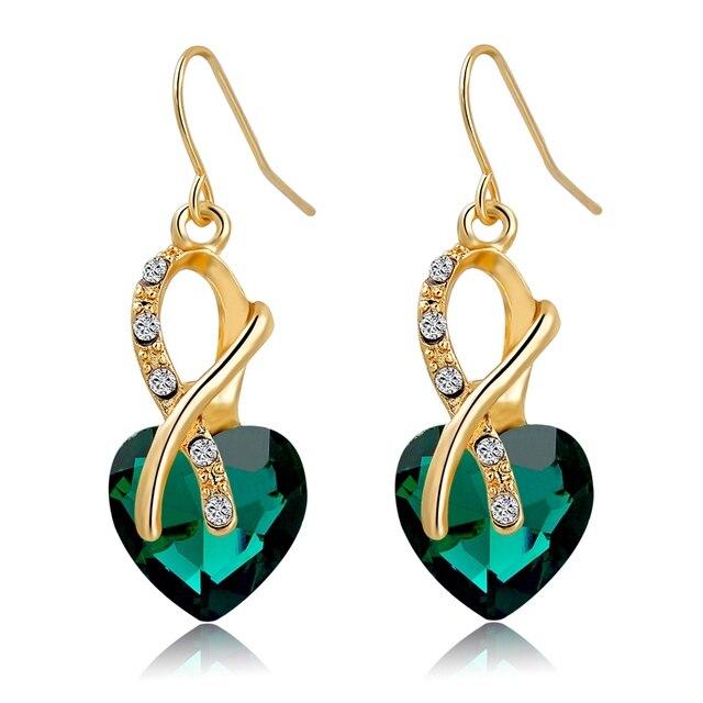 Фото chicvie синие серьги золотого цвета с камнями для женщин aaa