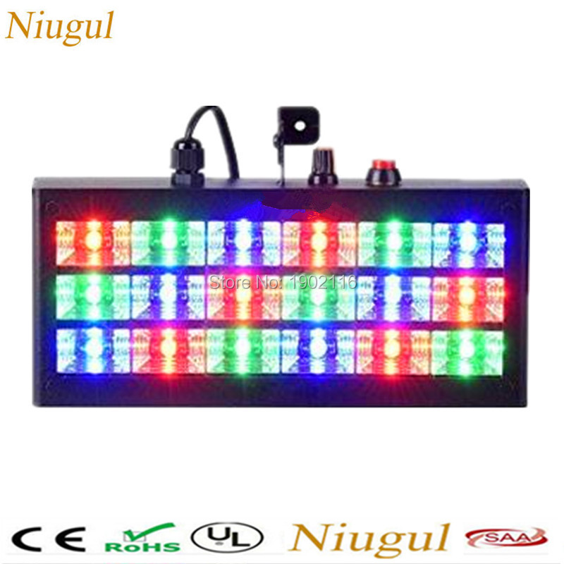 Niugul 35W Voice-Activated Led Strobe DJ Lights 18pcs RGB Strobe Ball Disco Flash Light nightclub Party Stage Effects AC110-240V niugul dmx stage light mini 10w led spot moving head light led patterns lamp dj disco lighting 10w led gobo lights chandelier