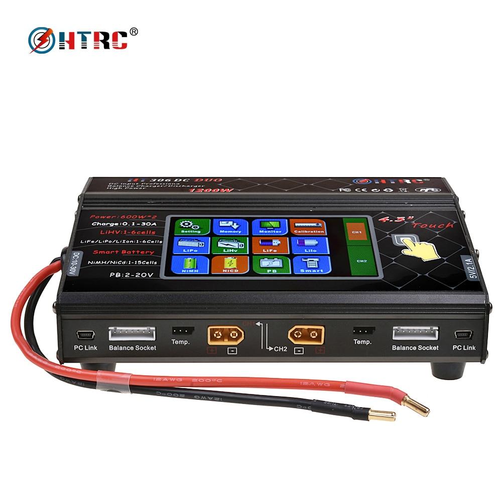 HTRC HT306 DC DUO 600 W * 2 30A * 2 Dual Port 4.3 Tela de Toque Colorida LCD RC carregador de equilíbrio para Lilon/LiPo/LiFe/LiHV Bateria