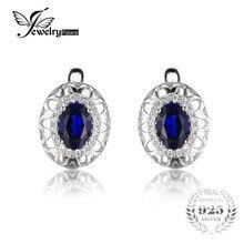 JewelryPalace Diseño Único Creado Azul Zafiro 2.4ct Clip En Los Pendientes de Plata de Ley 925 de Alta Calidad 2016 de La Nueva Manera