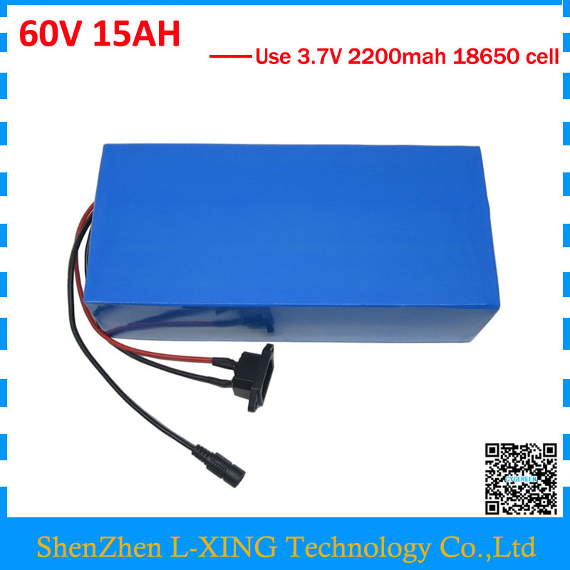 EU US no tax 60 V Lithium battery 60V 15AH 900W 60V electric bike battery 60V 15AH 18650 battery pack 15A BMS with 2A Charger 2016 new 7 4v 4200mah lithium polymer battery li po battery pack for electric heating clothes vest with 8 4v eu us plug charger