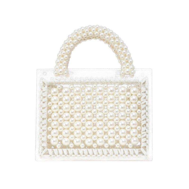 Sac à main acrylique fait main trapèze personnalisé avec perle sangle poignée sac à bandoulière pour les femmes