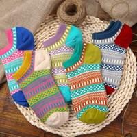 5Pairs Harajuku Non Slip Socks Women For Slippers Ethnic Style Female Home Lover Socks Kawaii Women