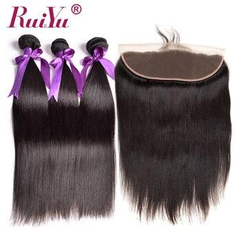 """13 """"x 4"""" Синтетический Frontal шнурка волос Накладные волосы с пучками 3 шт. Человеческие волосы прямо бразильский волос Синтетический Frontal шнурка ..."""