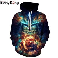BIANYILONG 2018 New Fashion Men Women 3d Hoodies Man With Owl Print Autumn Winter Thin Hooded