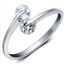 Anenjery 925 Sterling Silver podwójne cyrkon pierścionki zaręczynowe dla kobiet Anillos otwarcie pierścionki biżuteria ślubna S-R41 tanie tanio Kobiety Srebrny Cyrkonia Prong ustawianie Moda TRENDY Zespoły weselne Serce Strona
