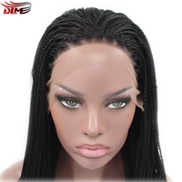 DLME Natural Braid Wigs Japanese Fiber Micro Box Braids Wig for Black Women Lace Front Hair Full Density
