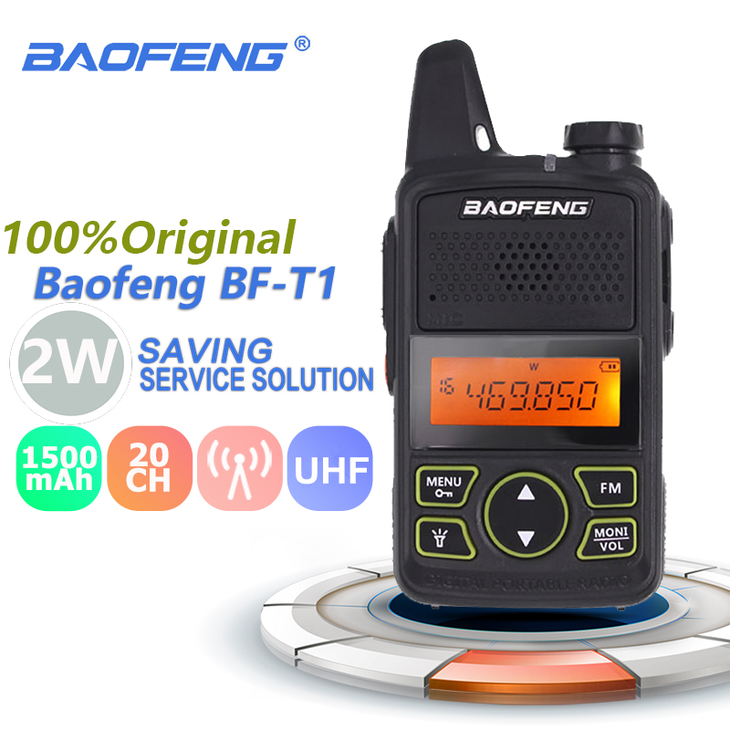 100% Original BAOFENG BF T1 MINI Walkie Talkie UHF 400 470MHz Portable T1 Two Way Radio Ham Radio Amador Micro USB Transceiver-in Walkie Talkie from Cellphones & Telecommunications