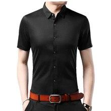 2019 nouveau senior été marque chemise hommes daffaires à manches courtes chemise lâche mince coton chemise mâle mode solide couleur tendance t shirts