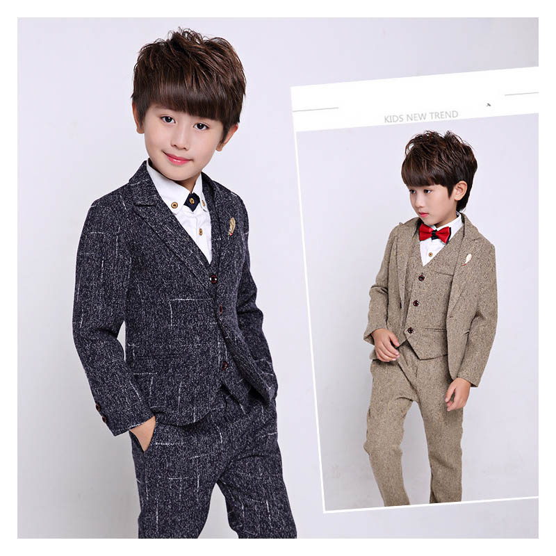 Fashion 5pcs/set children blazer boys suits black handsome kids blazers Formal slim Suit Wedding ceremony clothes party Costumes 5pcs winter kids boys suits blazers thicker warm plus children suit boy blue plaid blazer party clothes wedding suits for boys