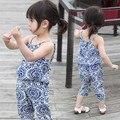 Preax Дети Новорожденных Девочек одежда набор синий и белый фарфор слинг Футболка и шаровары летом шифона 2 шт. одежда набор