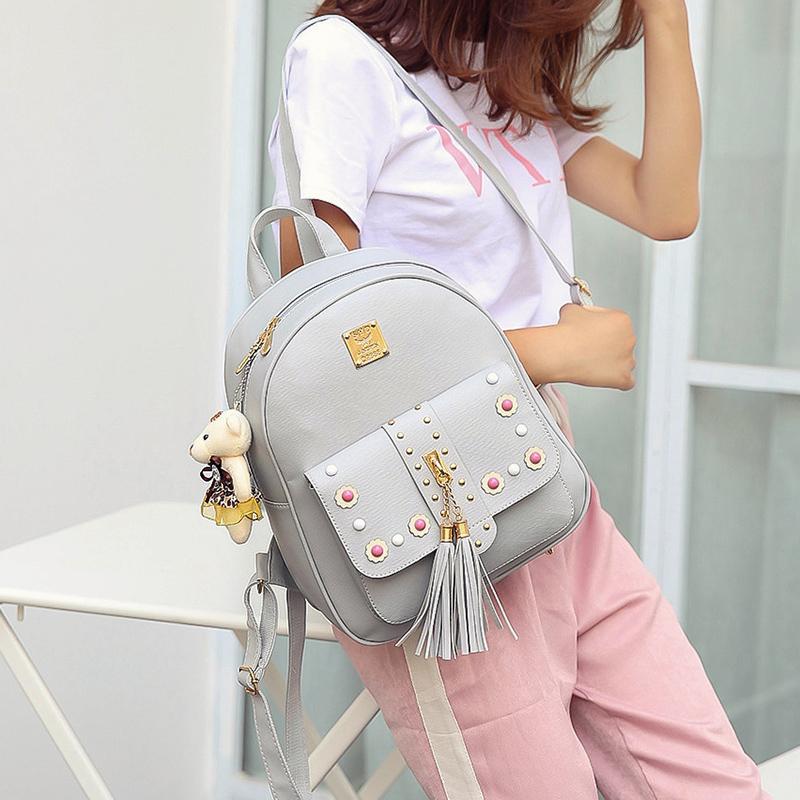 Backpack Female 3 Piece Combination Composite Bag Bear Hanging Inlaid Imitation Diamond Tassel Fashion Casual Shoulder Bag 61