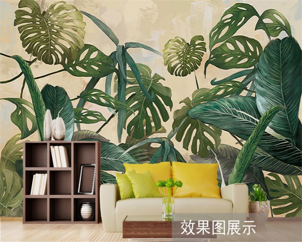 Beibehang Custom Wallpaper Tropical Rainforest Palm Basha Leaf Living Room TV Background Wall House Decorative Mural wallpaper in Wallpapers from Home Improvement