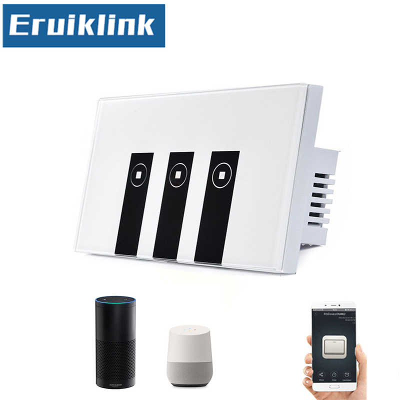 US/AU Standard 1/2/3Gang eWelink APP Touch Switch Via Android And IOS WIFI Control Light Switch Glass Panel Smart Google