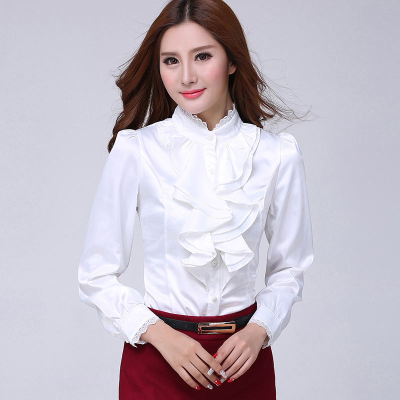 Blouse shirt Women Fashion Blouses Casual Shirts Elegant Ruffled Collar Office Female Clothing  2018 Spring cheap clothes china
