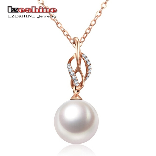 LZESHIN Dropshiping Simulated Pearl Pendants Necklaces Long Chain Necklace  CZ Stone Jewelry Wedding Necklace For Women 7ed5619a6a23