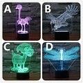 7 Cores 3D Luz Da Noite Ton Lâmpada LED Cores Alterar arte Escultura Mesa de Luz Produzir Cão Único Avestruz da Libélula Águia IY803388