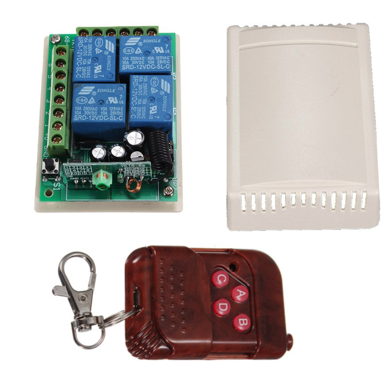 4 CH Receiver+Transmitter Wireless Remote Control Switch DC 12V RF 315MHz Hot Sale