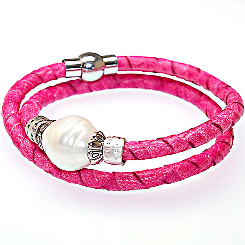 12pcs wholesale leather wrap magnetic expandable wire simulated pearl pink bracelets women jewelry pulseras mujer