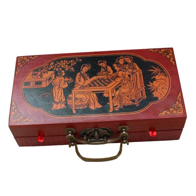 Ensemble d'échec complet pliable avec valise style chinois armée en terre cuite antique 3