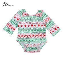 Pudcoco Newborn Baby Girl Christmas Romper Long Sleeve Back Bow Xmas Clothes Toddler Kids Jumpsuit Playsuit Outfits 0-18M pudcoco cute newborn kids baby girl infant lace romper dress jumpsuit playsuit clothes outfits