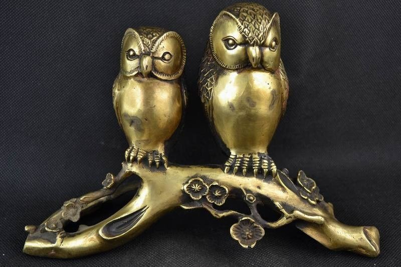 Chinese brass Carving Pair Owl Sitting On The Stump Statue a pair chinese cloisonne copper statue lion foo dog nr