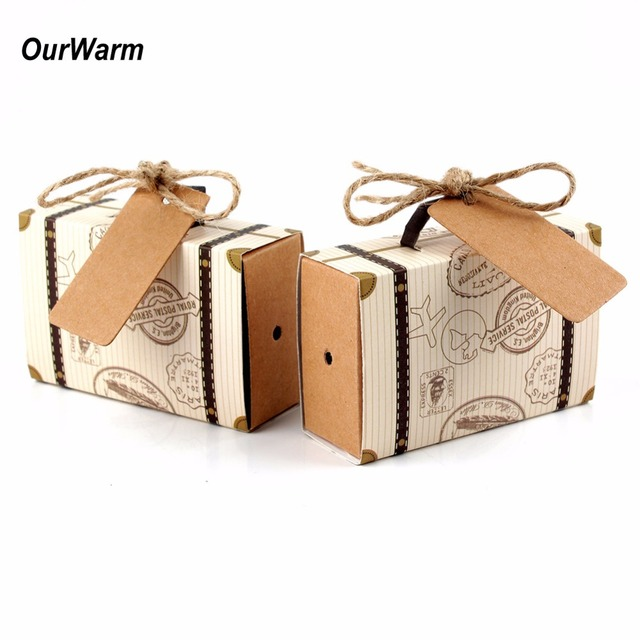 Ourwarm 10pcs Wedding Favor Chocolate Boxes Vintage Mini Suitcase Candy Box Sweet Bags For Favors