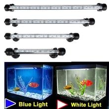 Водонепроницаемый светодиодный аквариумный светильник s садок для рыбы светильник бар синий/белый 18/28/38/48 см Погружной Подводная лампа на прищепке водная Декор ЕС