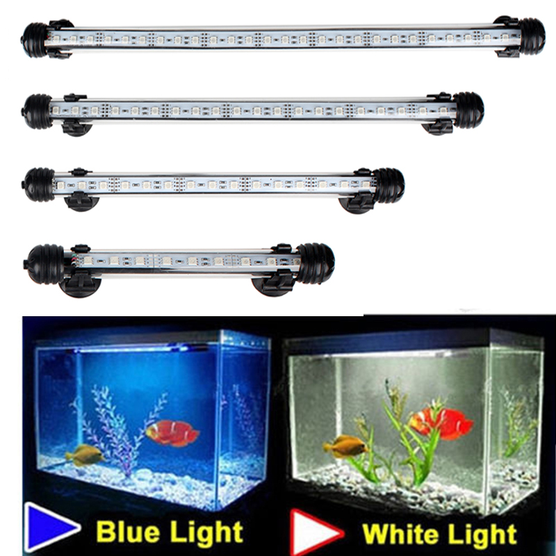 Vattentät LED-akvarelljus Fish Tank Light Bar Blå / Vit 18/28/38/48 CM Dykbar undervattensklämmelampa Aquatic Decor EU