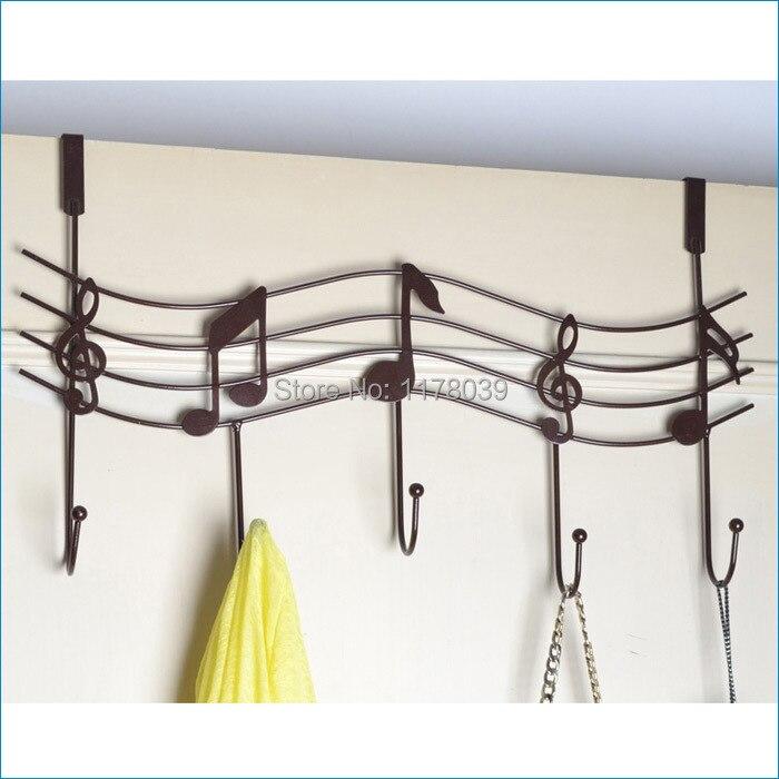 creative iron decorative coat hooksbathroom door back music notation hookbathroom towel hanger - Decorative Coat Hooks