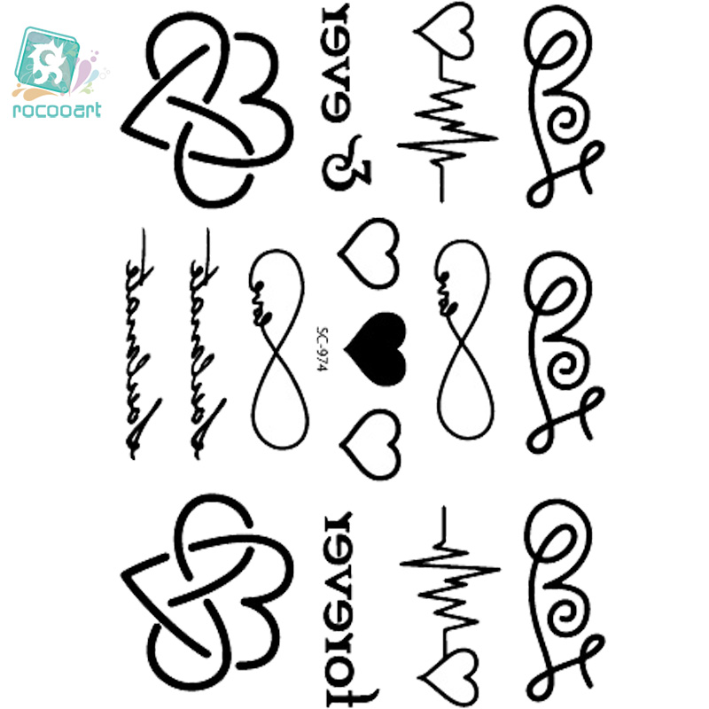 Rocooart SC2974 Taty Sketch Black White Sweet Hearts Water Transfer Body Art Temporary Tattoo Stickers Fake Tatoos Tatouage