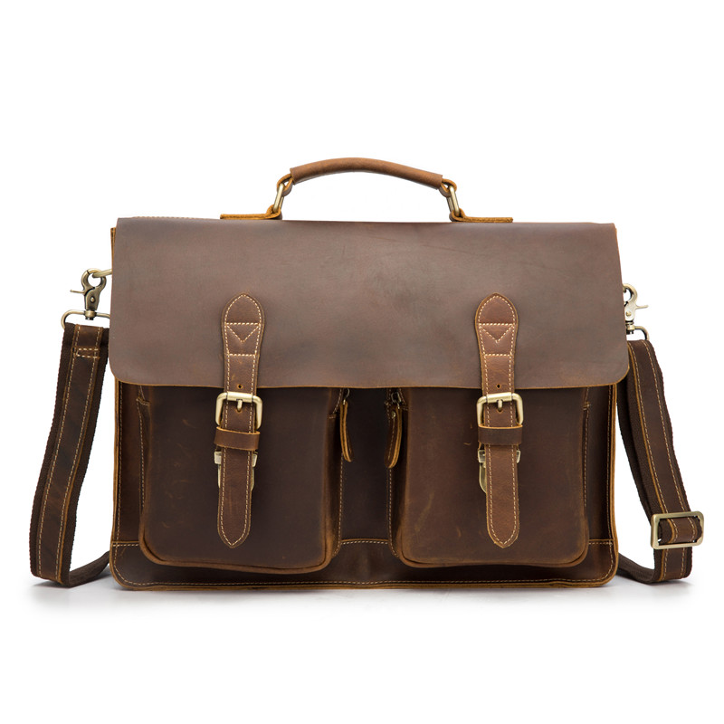 Handle Suitcase Men Briefcase Male Genuine Leather Messenger Bag Anti Theft 15.6 Inch Laptop Portfolio Handbag Man Shoulder Bag