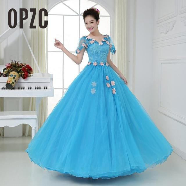 Organza Colored Wedding Dress 2017 New Korean Style V Neck Blue ...