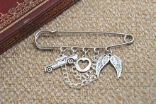 12pcs Supernatural inspired Destiel themed charm with chain kilt pin brooch 50mm