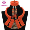 Elegant African Wedding Coral Beads Jewelry Set 2015 Latest Brides Coral Gold Chunky Bib Necklace Set